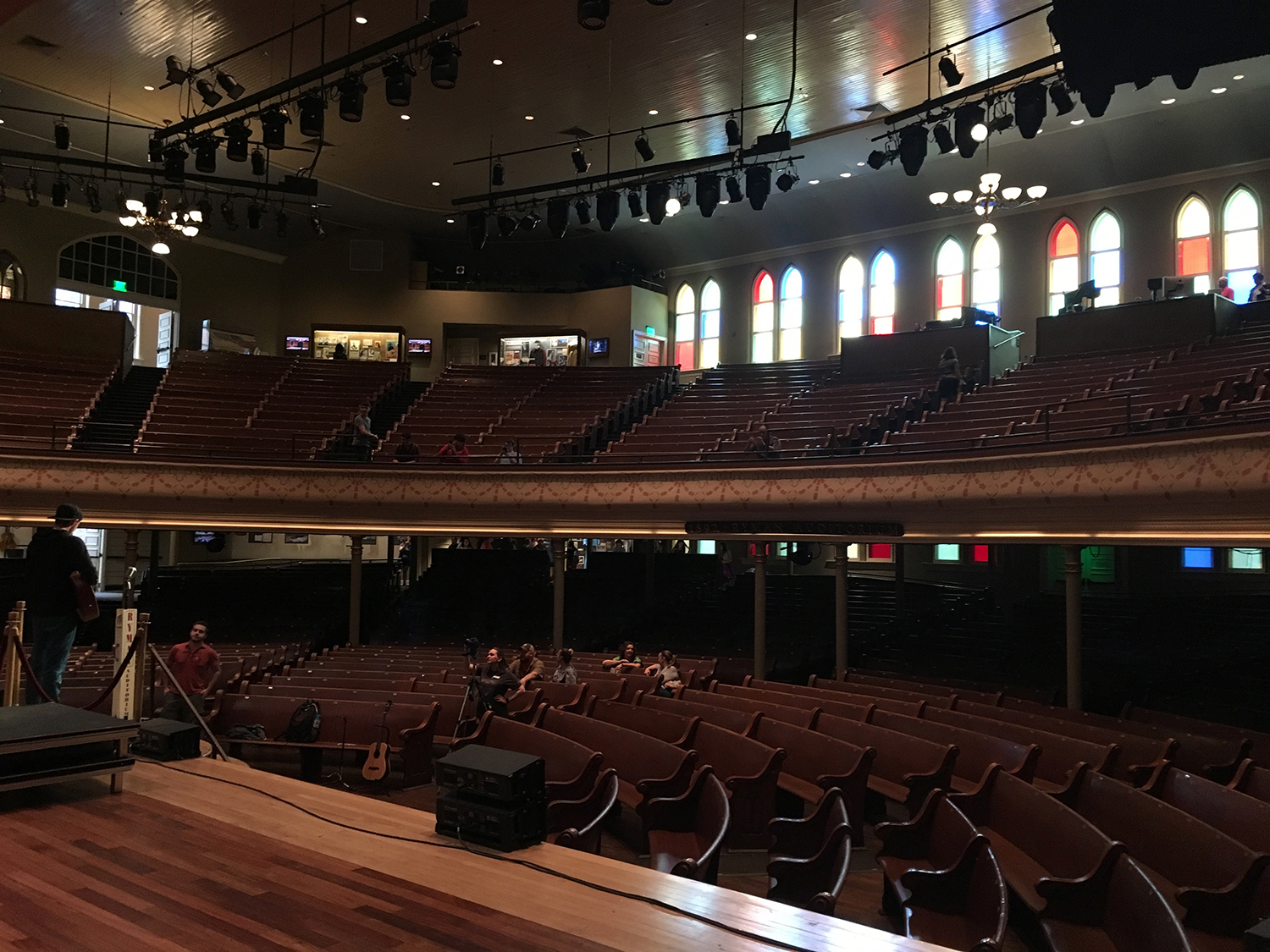 View of the Ryman auditorium from the stage wings.