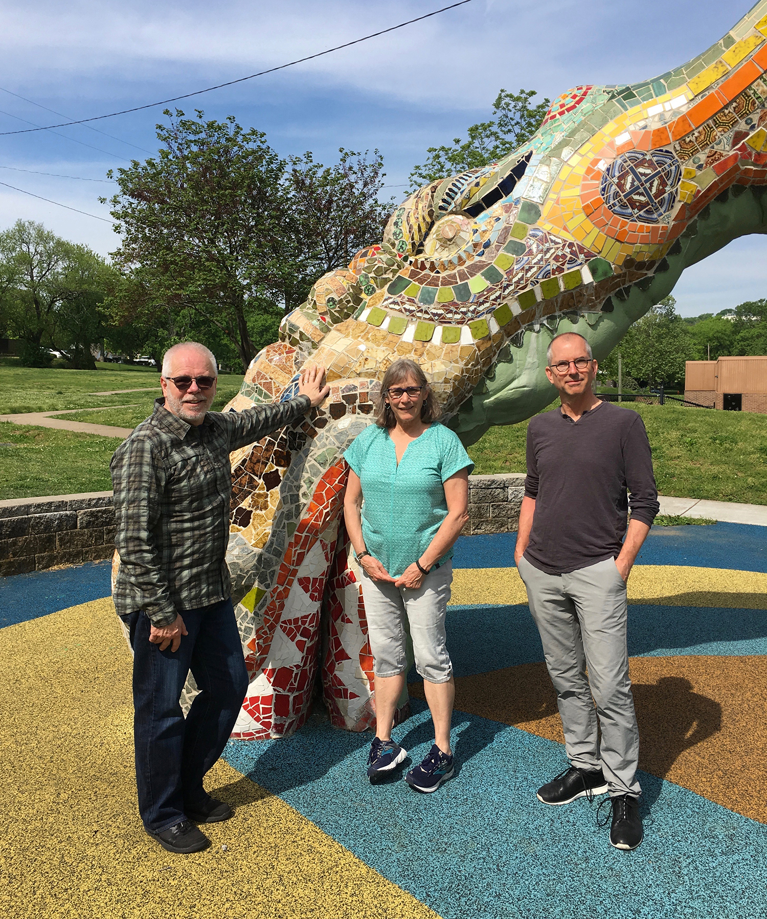 Scott, Lynn and Todd pose in front of a fun mosaic sculpture in a playground. We were lucky to bump into the woman who originally spearheaded this community project in the '80s. It's been restored since then, and is a neighborhood treasure.