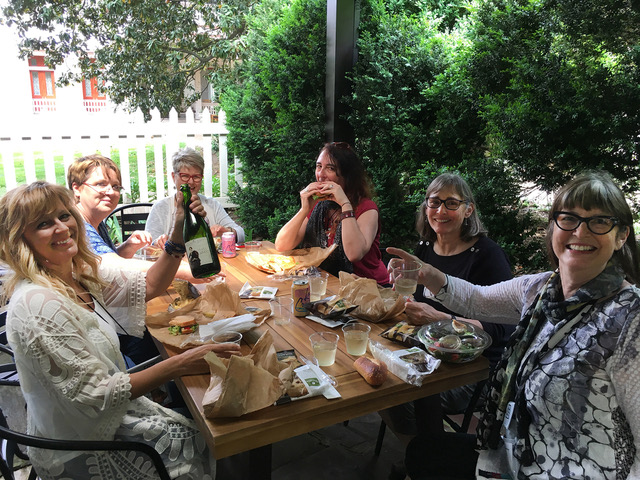 A great spot for lunch on our tour. At the Bell Meade Plantation, after the wine tasting… a little wine with our Panera box lunch!