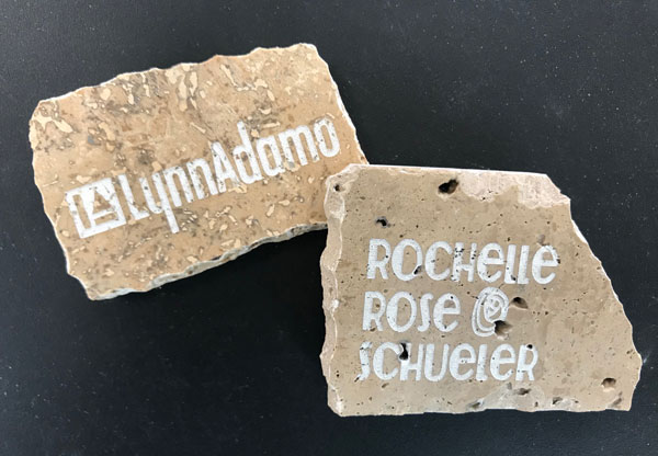 Signature tiles, engraved by Rochelle. The DIY Cave has a machine called a Glow Forge that is attached to a computer and can engrave all sorts of material.