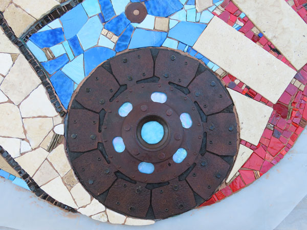 Detail with the awesome clutch plate we salvaged and made pretty.