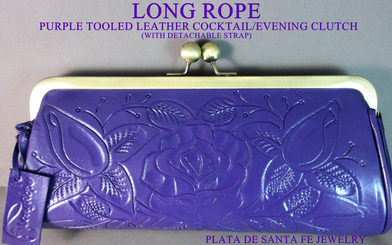 Clutch purse purple dark tooled leather