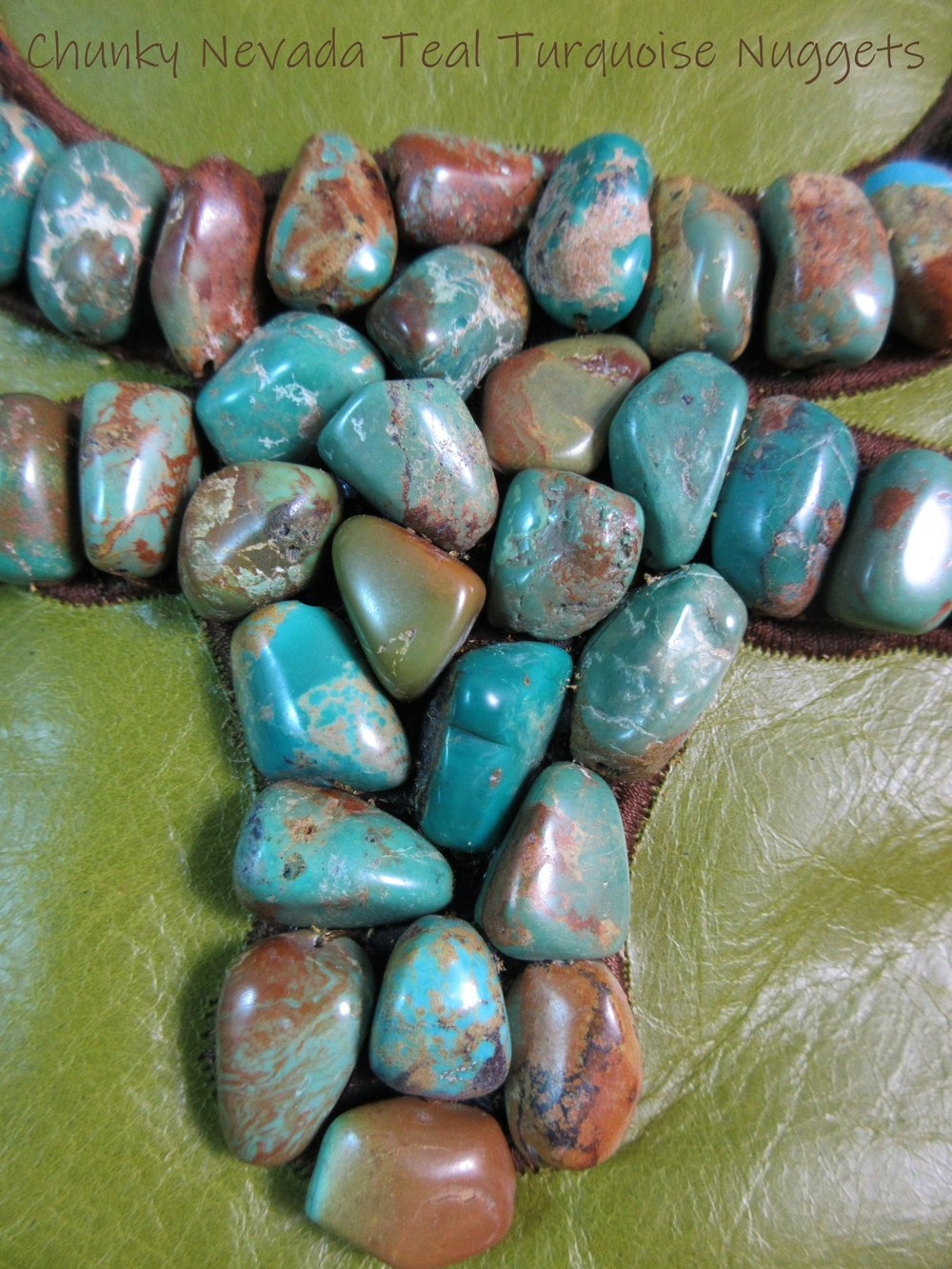 Turquoise Chunks with Bull Charms