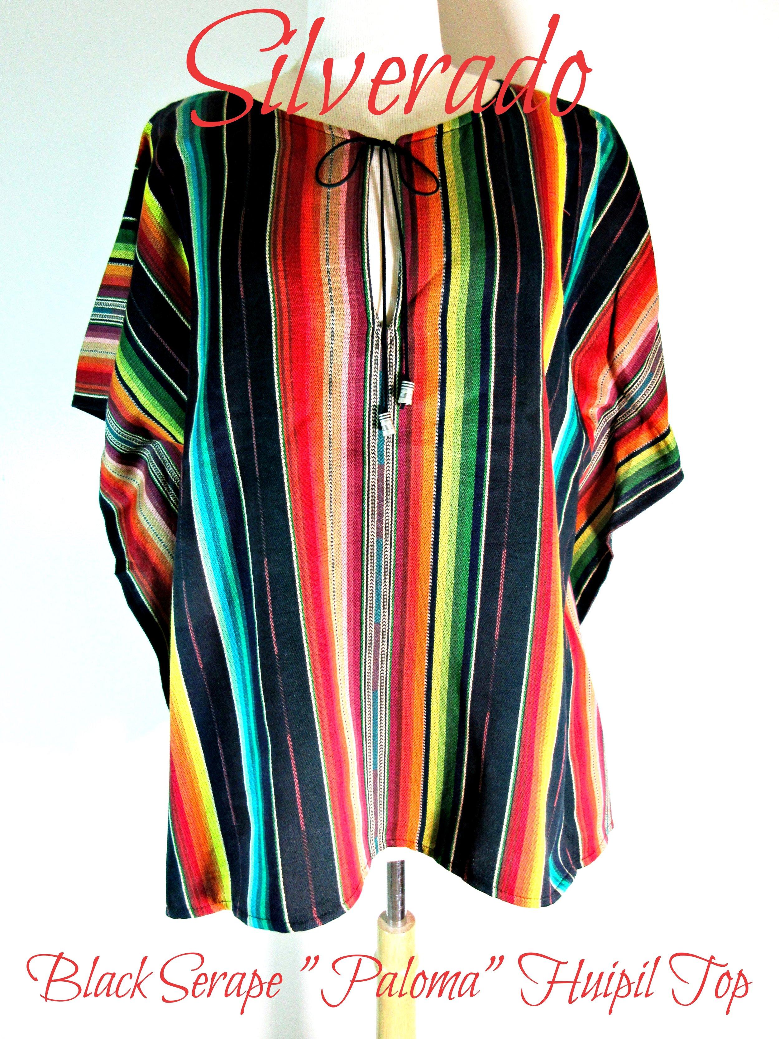 """Silverado~Santa Fe//Old Mexican//Western Style~BLACK Saltillo Serape~~/""""PALOMA/"""" Top"""