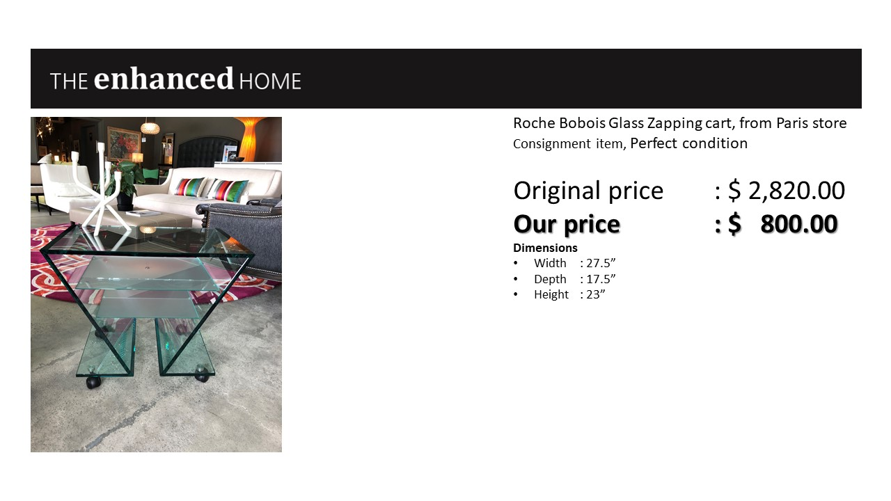 Roche Bobois Glass Zapping cart, from Paris store.jpg