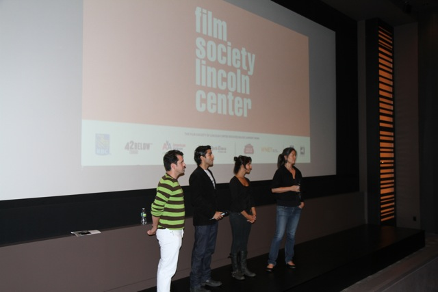 Theatrical premiere of CIRCUMSTANCE (during a hurricane!) in NYC's Film Society Lincoln Center with (l-r) director of photography Brian Hubbary, actor Keon Mohajeri, actress Nikhol Boosheri, and me.