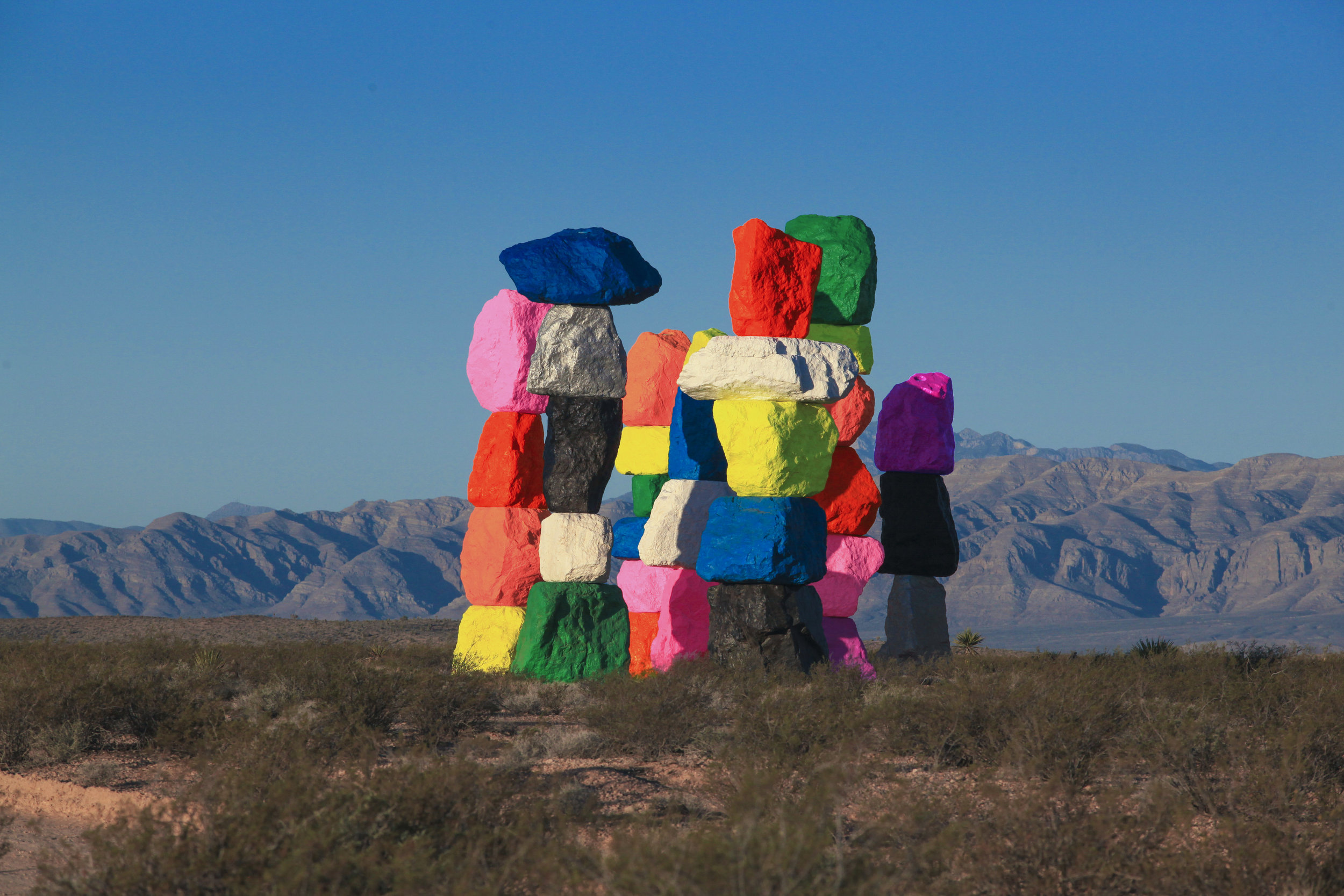 Ugo Rondinone:  Seven Magic Mountains , Las Vegas, Nevada, 2016. Photo by Gianfranco Gorgoni. Courtesy of Art Production Fund and Nevada Museum of Art.