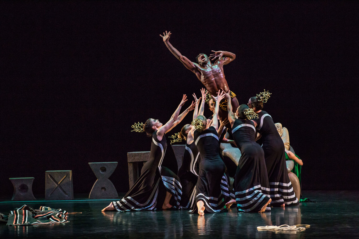 "Lloyd Knight (top) and other dancers from the Martha Graham Dance Company in Martha Graham's ""Night Journey,"" 2016. Photo by Brigid Pierce. Courtesy of Martha Graham Dance Company."