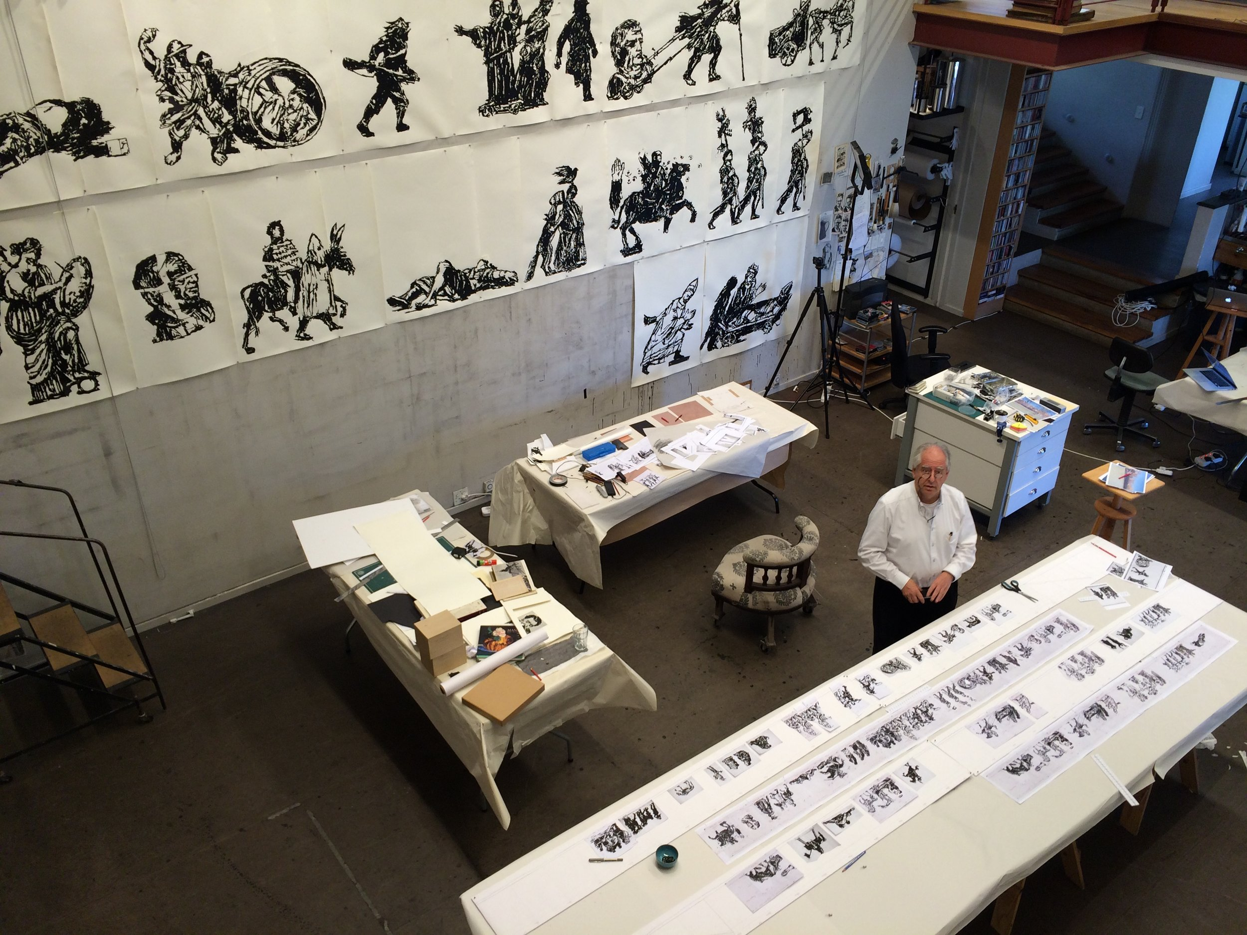 William Kentridge in his studio. Photo by Kristin Jones.   Courtesy of   Tevereterno.