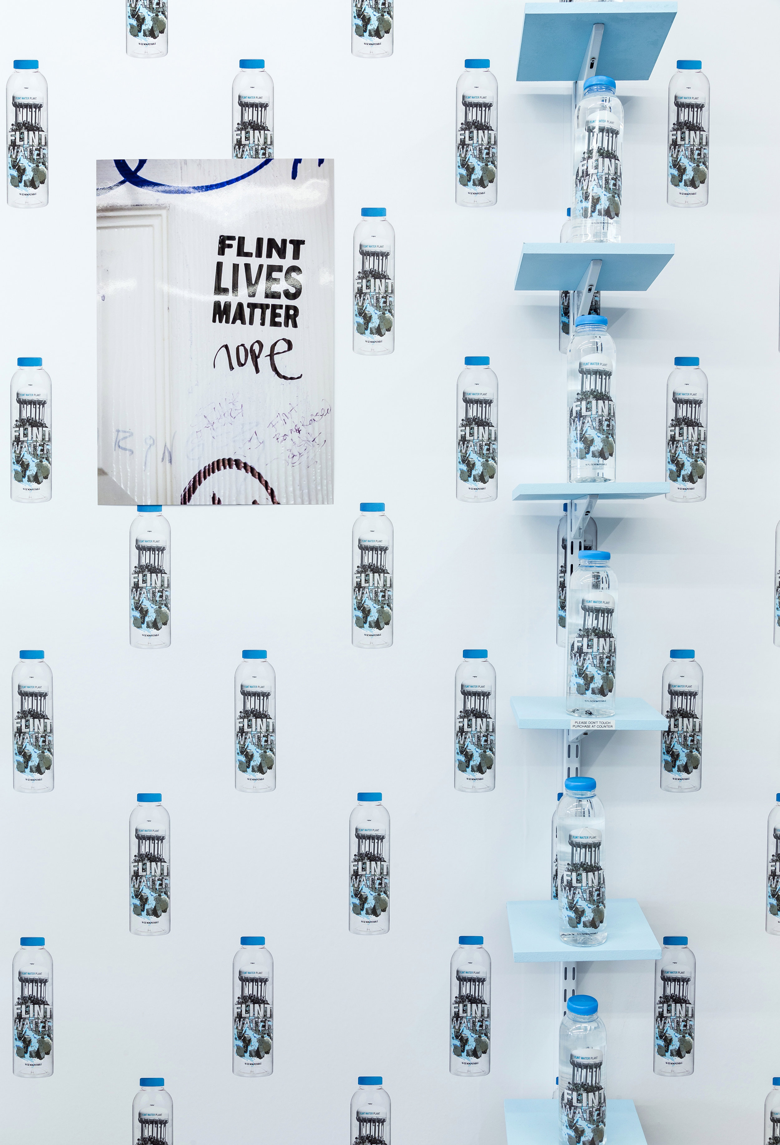 Pope.L,  Flint Water , 2017, Installation view 2. Courtesy the artist and What Pipeline. ©Pope.L