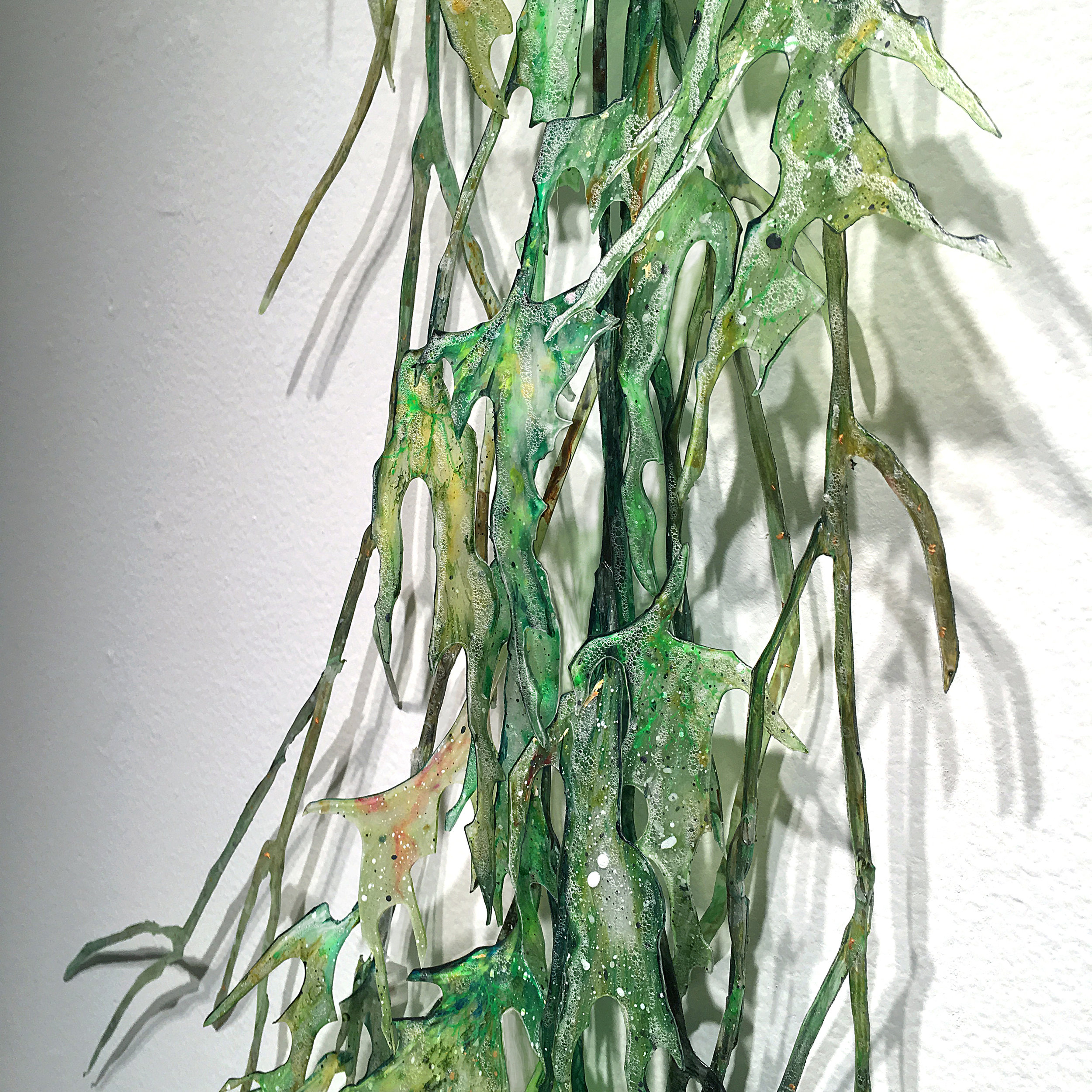 Margaret Smithers-Crump,  Air Roots,  2018, acrylic on recycled hand cut Plexiglas, anthracite, wood, 100 x 27 x 11 inches