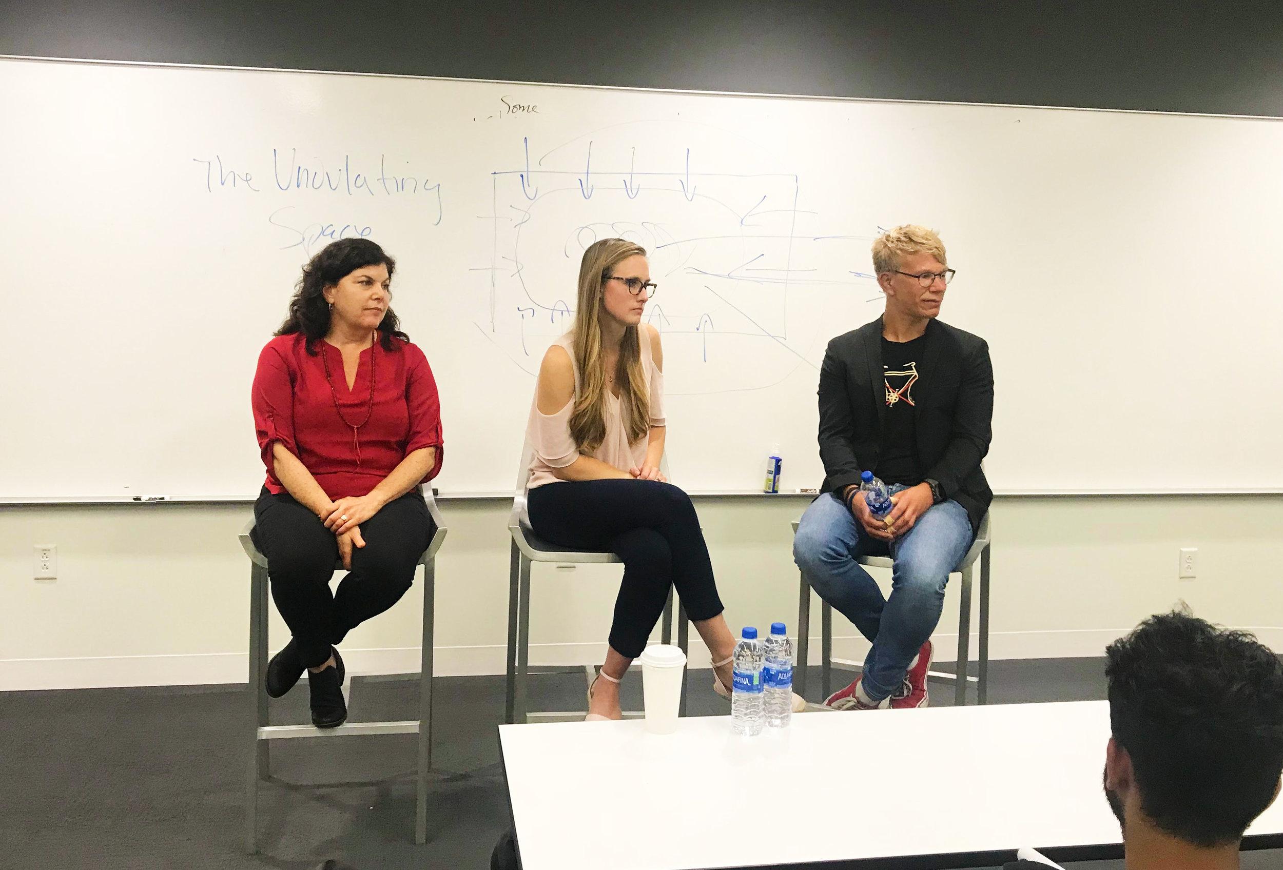 From left to right: Jennifer Baker, Executive Director, Golin-Harris, LA. Megan Castilla, former student, Principal, Hill+Knowlton Strategies, LA. Frederick Pruss, former student, Crisis Management, Edelman, Berlin.