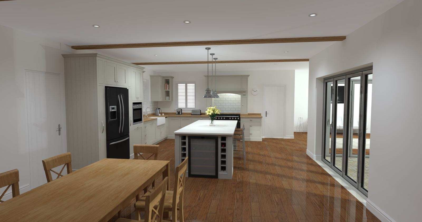 Shaker kitchen with dining room table