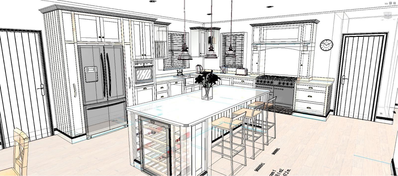 Wire frame shaker kitchen CAD