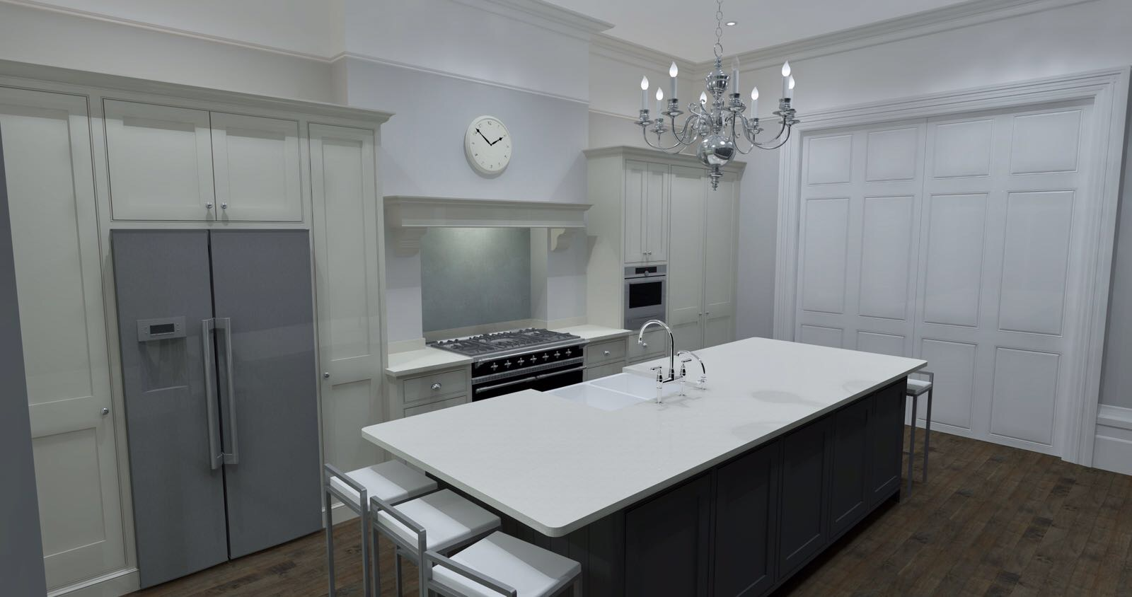 traditional shaker style kitchen angled view with appliances
