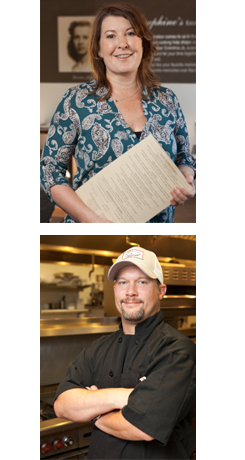 Meet our Owners… - Sarah Keith and Chris Blackburn have made names for themselves in the Triad area thanks to their vast experience in, and passion for, owning and operating local, well versed, and highly acclaimed restaurants.Sarah Keith, CEOWinston-Salem native and Guilford College alumnae, Sarah's roots in the Triad run deep. While at Guilford College, she created her own unique Independent Study as a restaurant intern and worked at dishwashing, line cook, bartender, server and host at the Smyres Plaee original Southern Lights, a Greensboro favorite, while writing and developing a business plan for a new restaurant.Sarah later worked at the original Berts Seafood on historic Spring Garden Street in Greensboro while initiating and developing catering at Emerywood Fine Foods, which she purchased 3 years later. Sarah and Chris met 7 years later at Emerywood and soon realized they both had a love for inspiring food made from local ingredients and wanted to share their passion for food with neighbors.In 2006, when space became available at the corner of Walker and Elam in Greensboro, Sarah embraced the chance to build a restaurant from scratch in the town she loved; Lindley Park Filling Station was born. Josephine's was opened in 2010 and Blackburn's in 2015.Chris Blackburn, ChefChef Chris was born and raised in Pilot Mountain, NC. As a child, Chris was greatly influenced by his grandmother Josephine (yep, the namesake of Josephines Kitchen) who was a true Southern Belle and, like many southern women, a fabulous cook.Chris grew up working in Pilot Mountain restaurants, trying his hand at all the varied roles a restaurant has to offer, before moving to Greensboro where he attended GTCC.Unlike other chefs you'll meet, Chris path into the kitchen first took a route through the airport. While at GTCC, Chris found a passion for electronics and graduated as an airline mechanic. He worked for the first 2 years of his professional life fixing aircraft before his love for the 