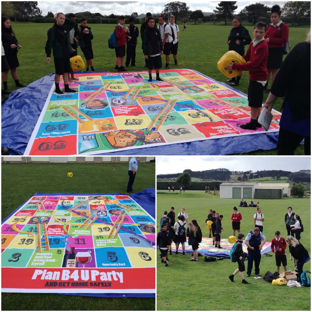 Tuakau College collaborated a lot with the local council and the Police, especially with this giant snakes and ladders board!