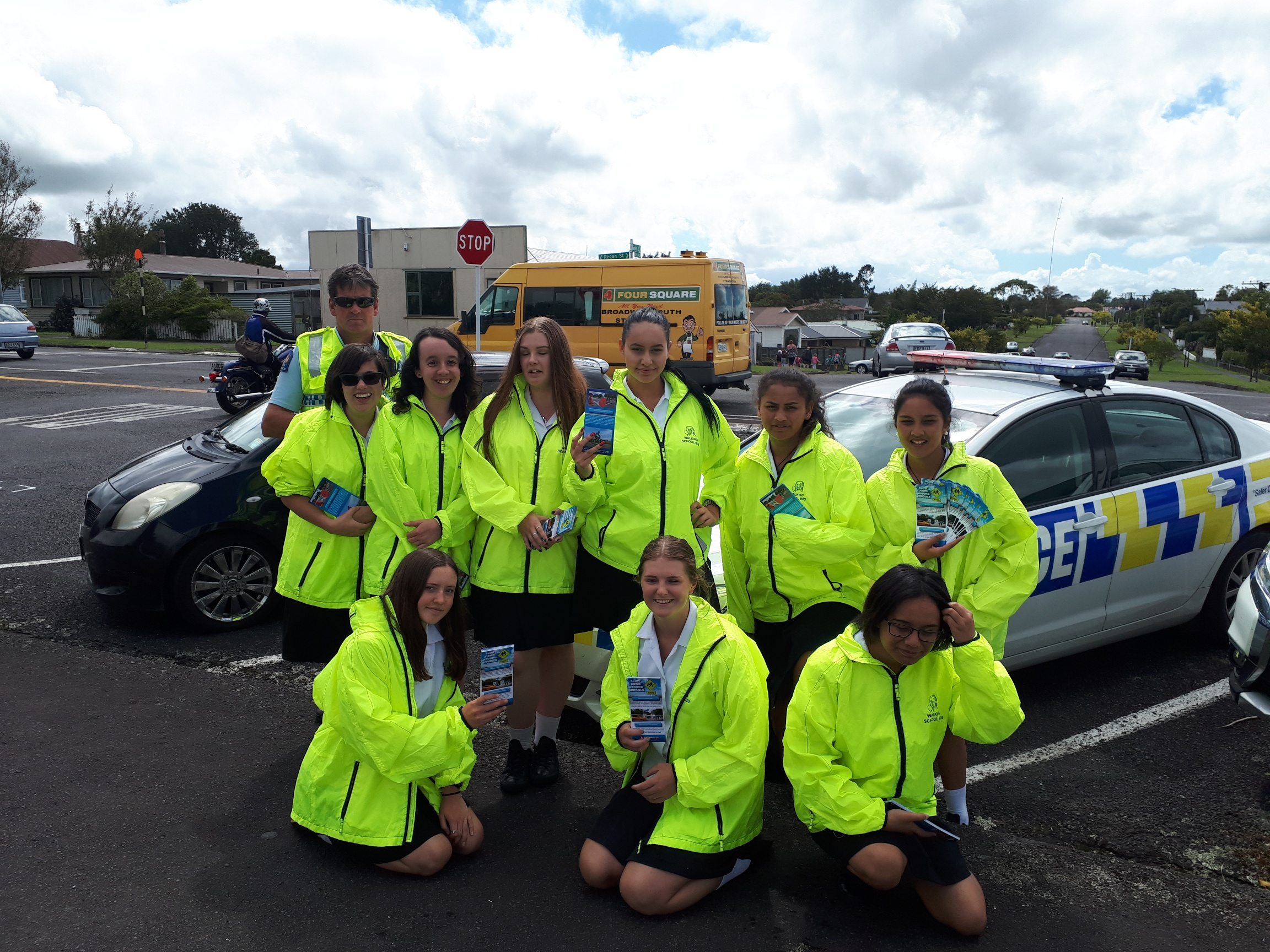 Stratford High School SADD students collaborating with local council and helping with a Back to School campaign at Stratford Primary reminding parents to park safely when picking up their children