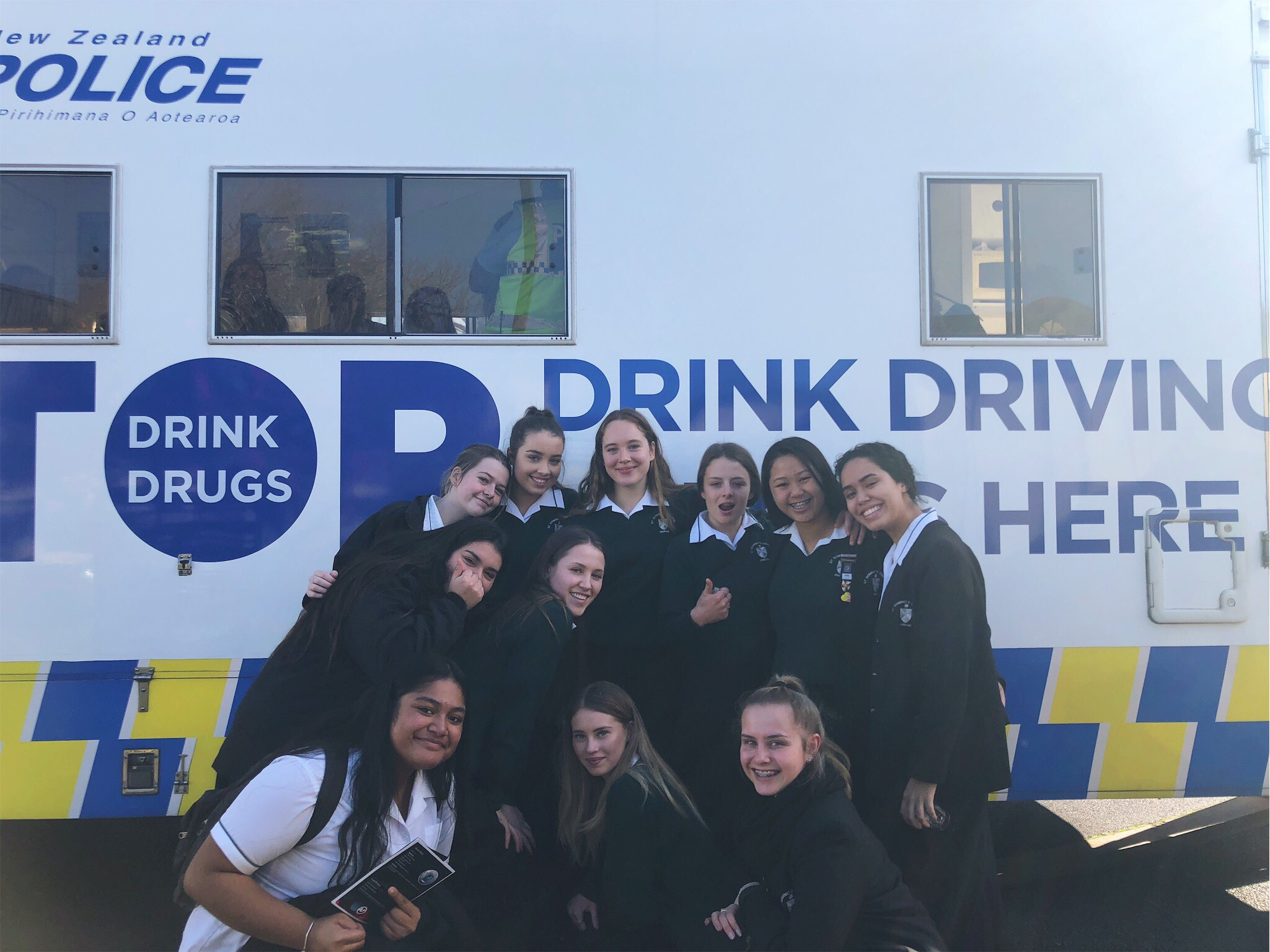 St Dominic's College collaborating with NZ Police on the Sober Drivers principle - bringing in the booze bus for education