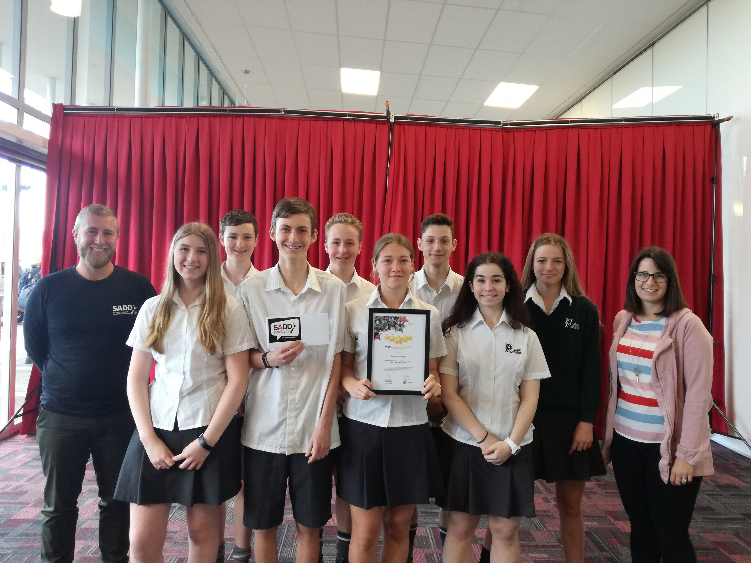 The Orewa College SADD Group of 2018 with their certificate