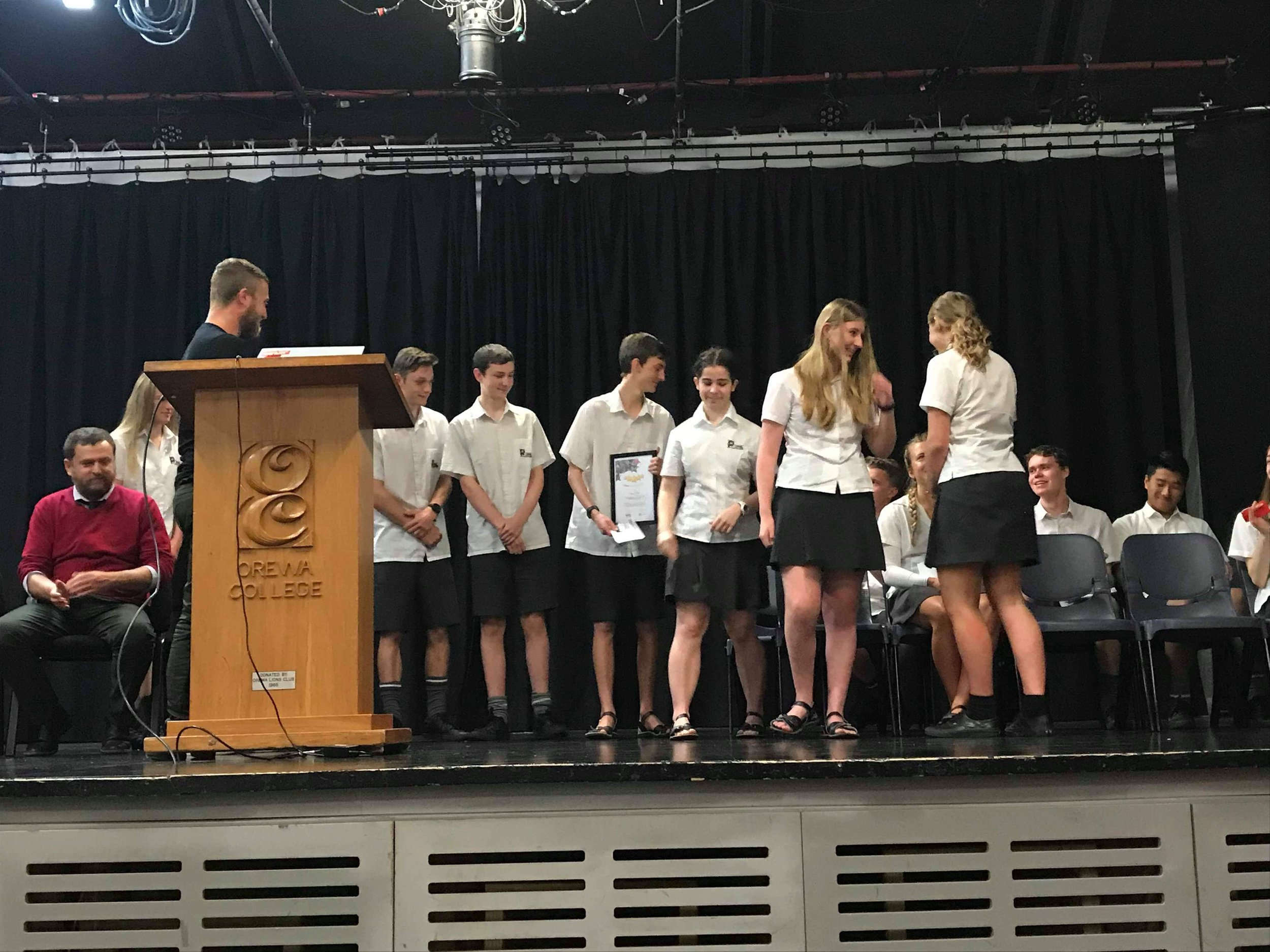 Alex presented the group with their certificate at a senior assembly in Term 4