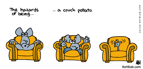 Sitting on a couch is really not that stressful. Don't make me run!