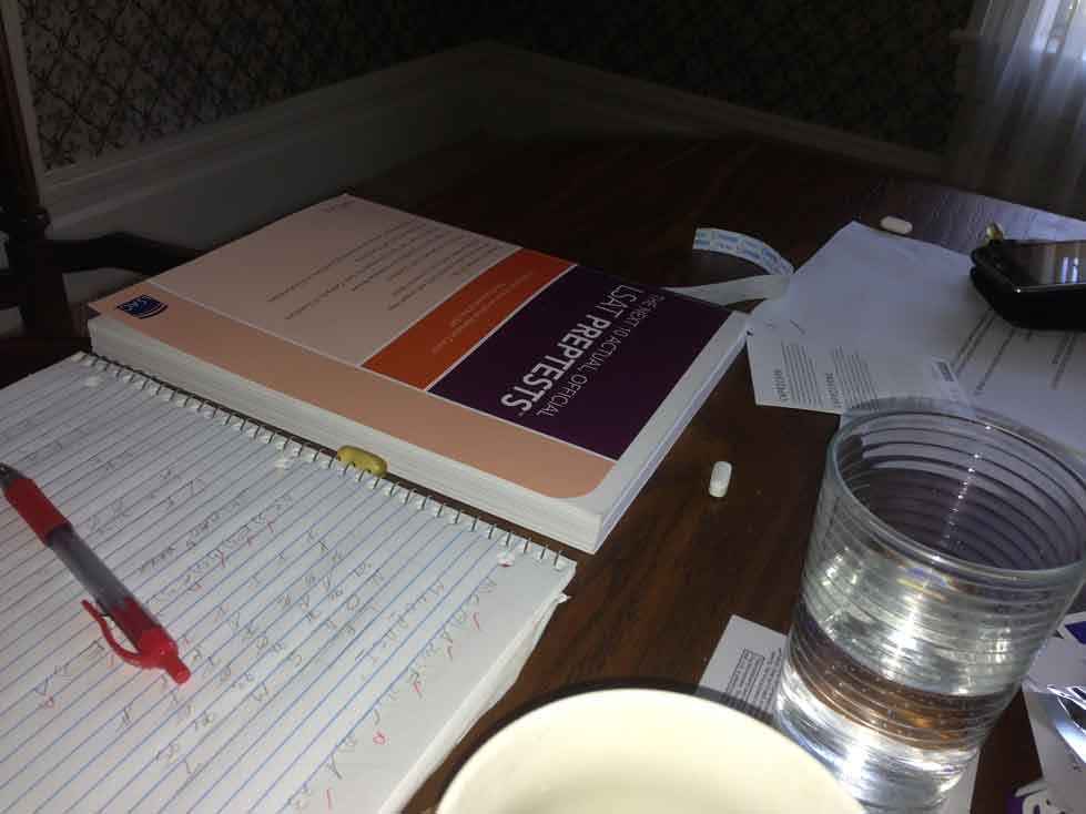"""(… Or as some will say, """" makes you smarter """". Hmmm…) Image:View from where I'm sitting right now. Fish oil, magnesium, water and LSAT."""