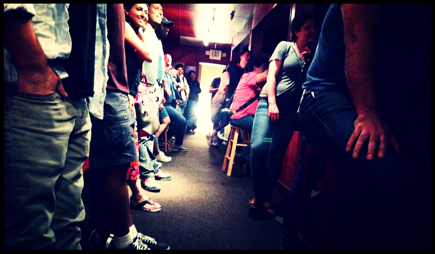 Red Rock Coffee.  Mountain View, CA.  Comedians@RedRock hallway overflow.