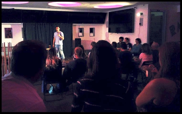 Rail Club.  San Carlos, CA.  Sammy Obeid killing it at Comedians@Rail.