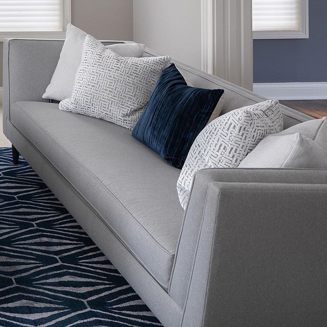 📷 Series: 1 of 6 // A Living Room design perfectly layered with patterns of Navy, Grey, White + hints of Gold . . . . . . . . .  Project: Interior Design Client: Seers House 📷: Miller+Miller Architectural Photography