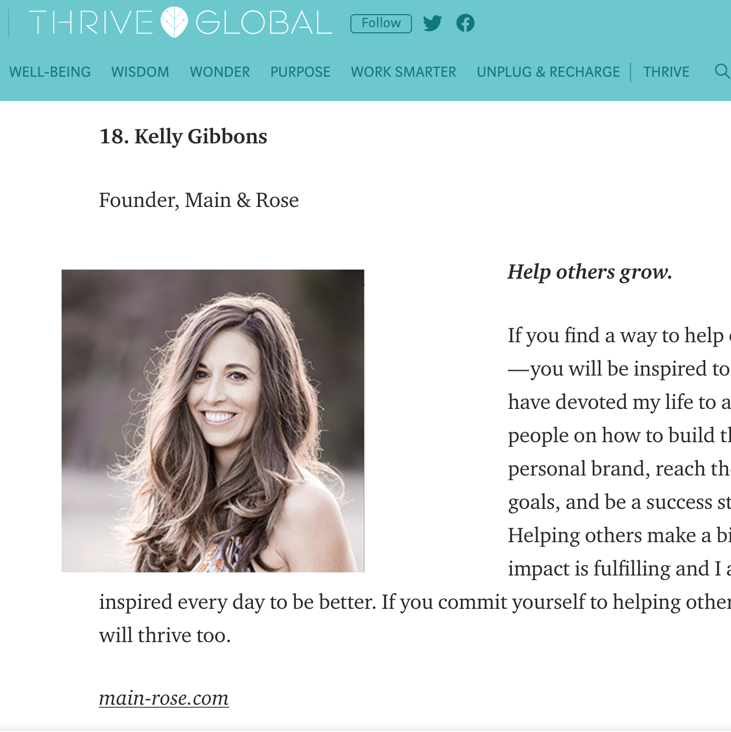 thrive global main rose beth kelly gibbons