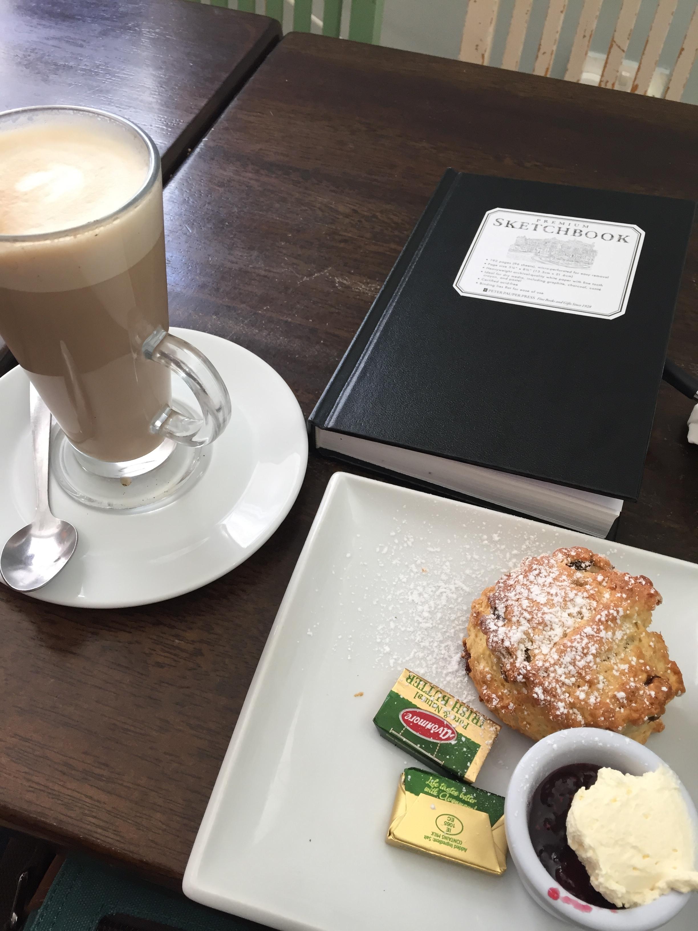 Latte, scone, sketchbook: happiness