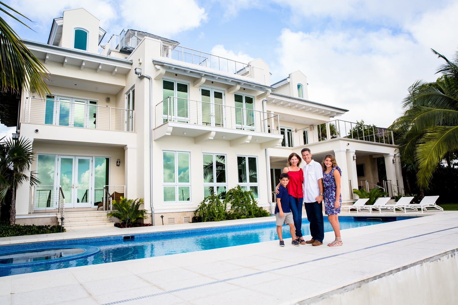 Family portrait in Key Biscayne Fl. beautiful home on the water