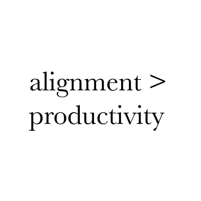 "Alignment   productivity. This one really hits home today. For people who live their lives going deep within, being busy on the surface won't always be the fastest way to get where you are going. What we might call capitalism and the unbalanced masculine energy (in the world and inside all of us) believes that productivity is our only value and proof of progress, but the feminine asks you to see things from a broader perspective. The balanced creator of any kind (business/art/family/healer/etc) knows that sometimes a deep dive into healing, rest, mindset, sleep, and realignment is the fastest way to charge forward. It requires trust to step into that void 🕳 and know we will re-emerge better than ever. We don't see a lot of this modeled for us, so we just have to trust ourselves. What do you do that is not outwardly ""productive"" but results in big shifts for you?"