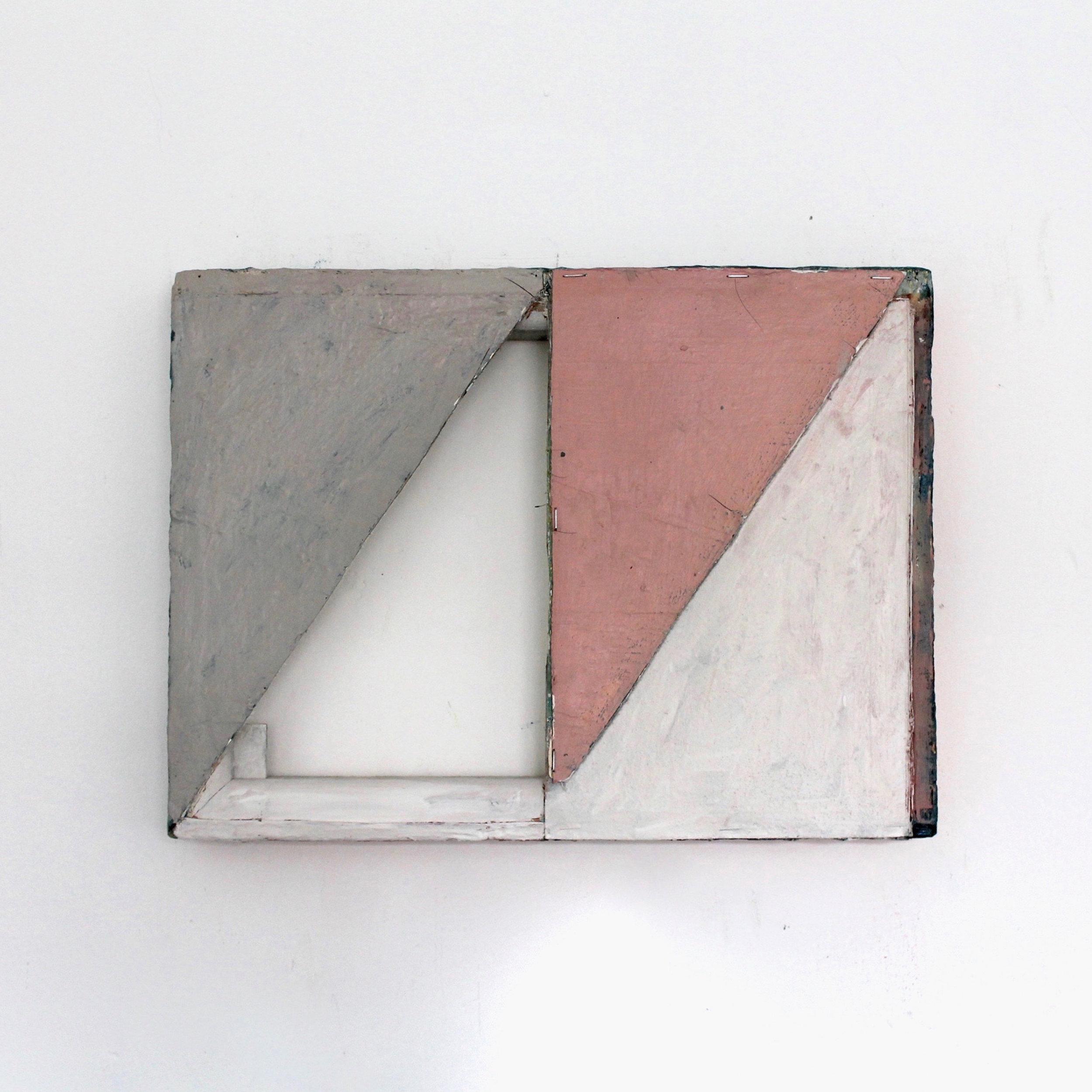 """Cut """"N"""" Shunt  Oil, canvas, wood, staples, glue 15.75 x 11.80 inches 40 x 30 cm 2018"""