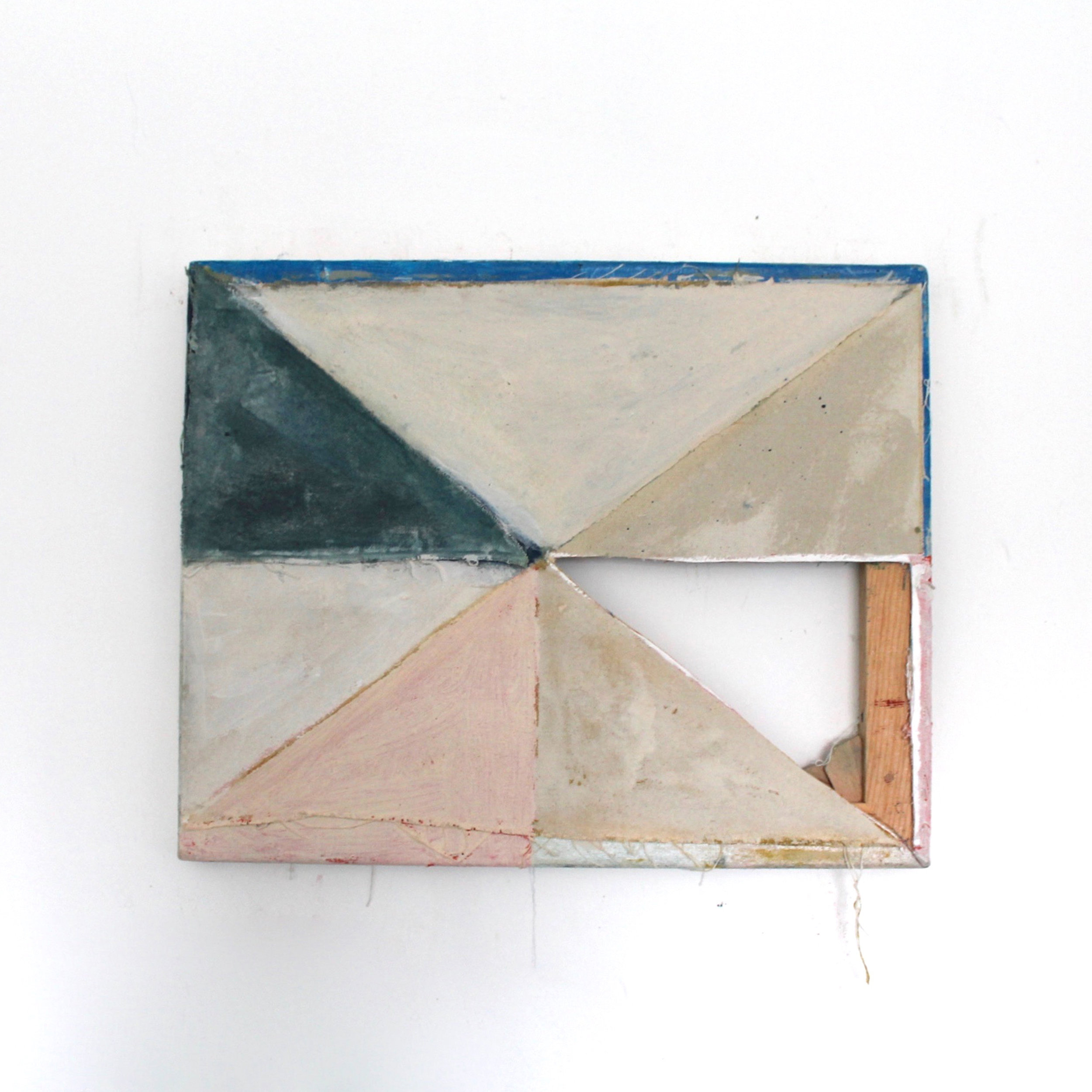 Time and Time Again  Oil, canvas, wood, staples, glue 16.14 x 13 inches 41 x 33 cm 2018
