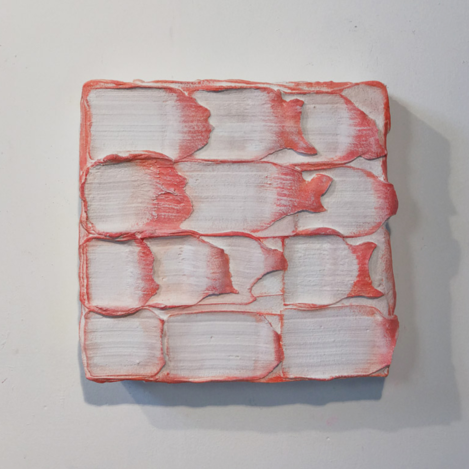 15 Red, White, Red  Mixed media 17 x 17 x 5 inches 43 x 43 x 12 2018