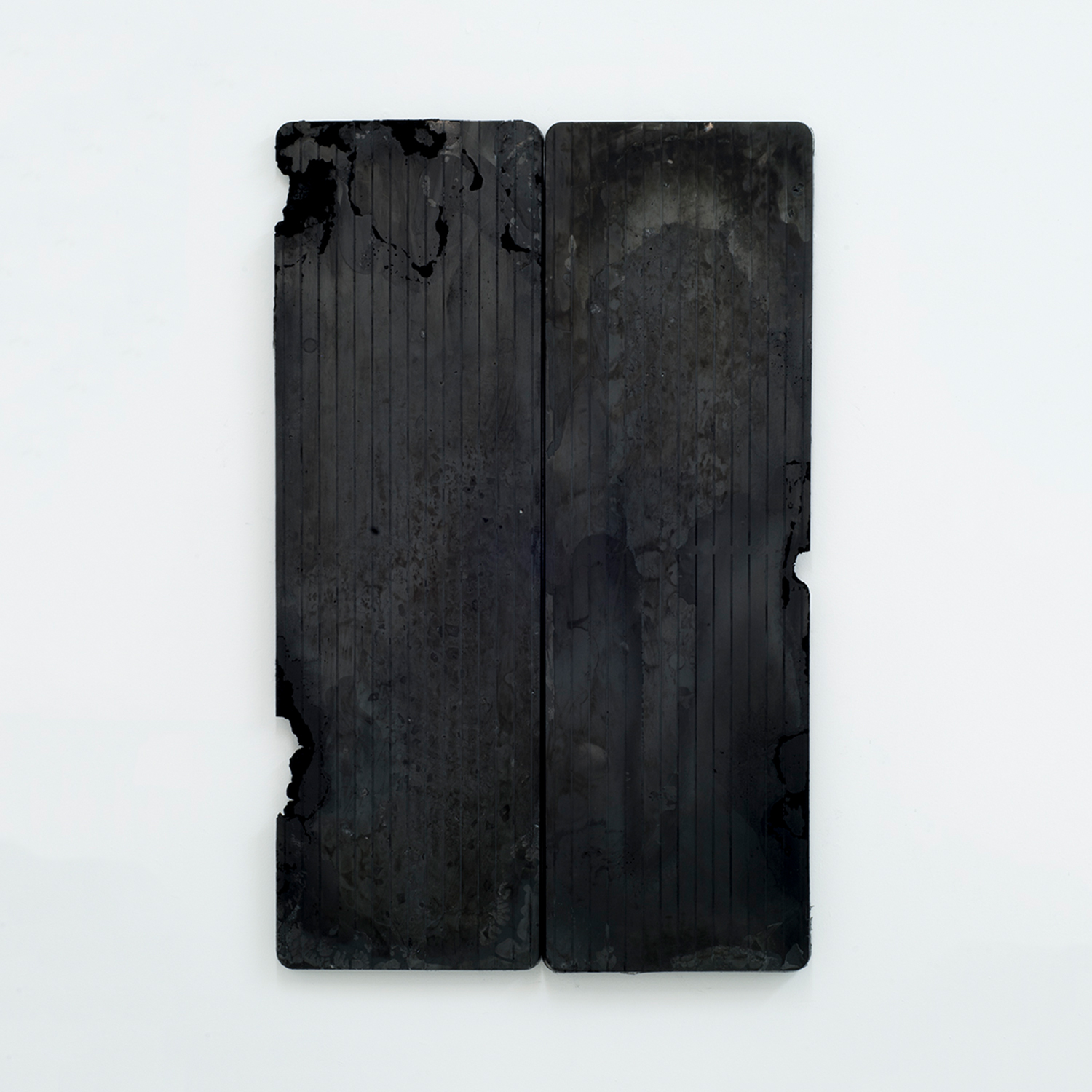 Carbon Form (diptych)   Marble, glass, dry pigment, resin 48 x 30 inches 122 x 76 cm 2018