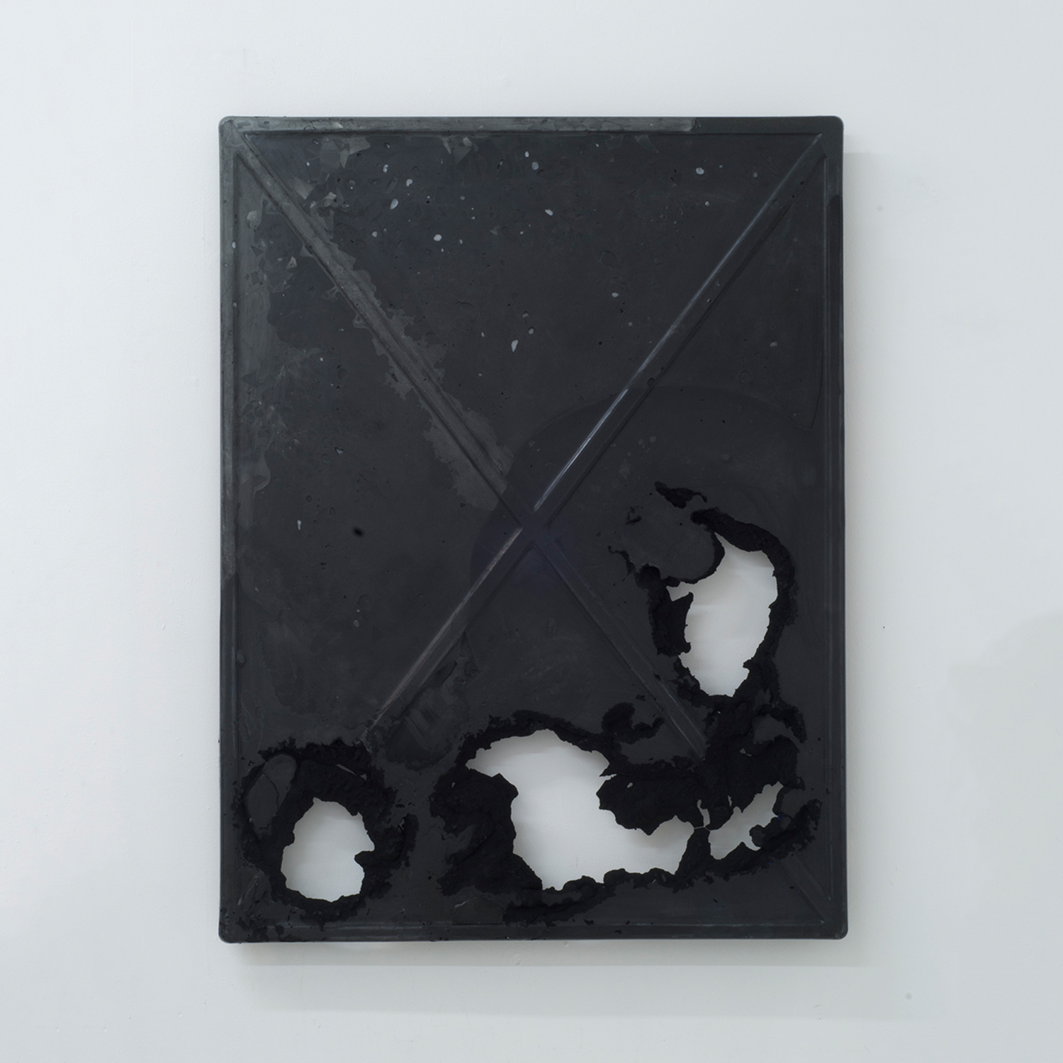 X Slab (finite black)   Marble, glass, dry pigment, resin 32 x 42 inches 81 x 107 cm 2017