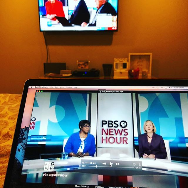Working on a lifetime achievement video of Judy Woodruff while watching her cover the election. Such an inspiration as a newswoman, journalist and mother. #election #vote #journalism #womenintv #newseum #womeninnews #judywoodruff #pbsnewshour