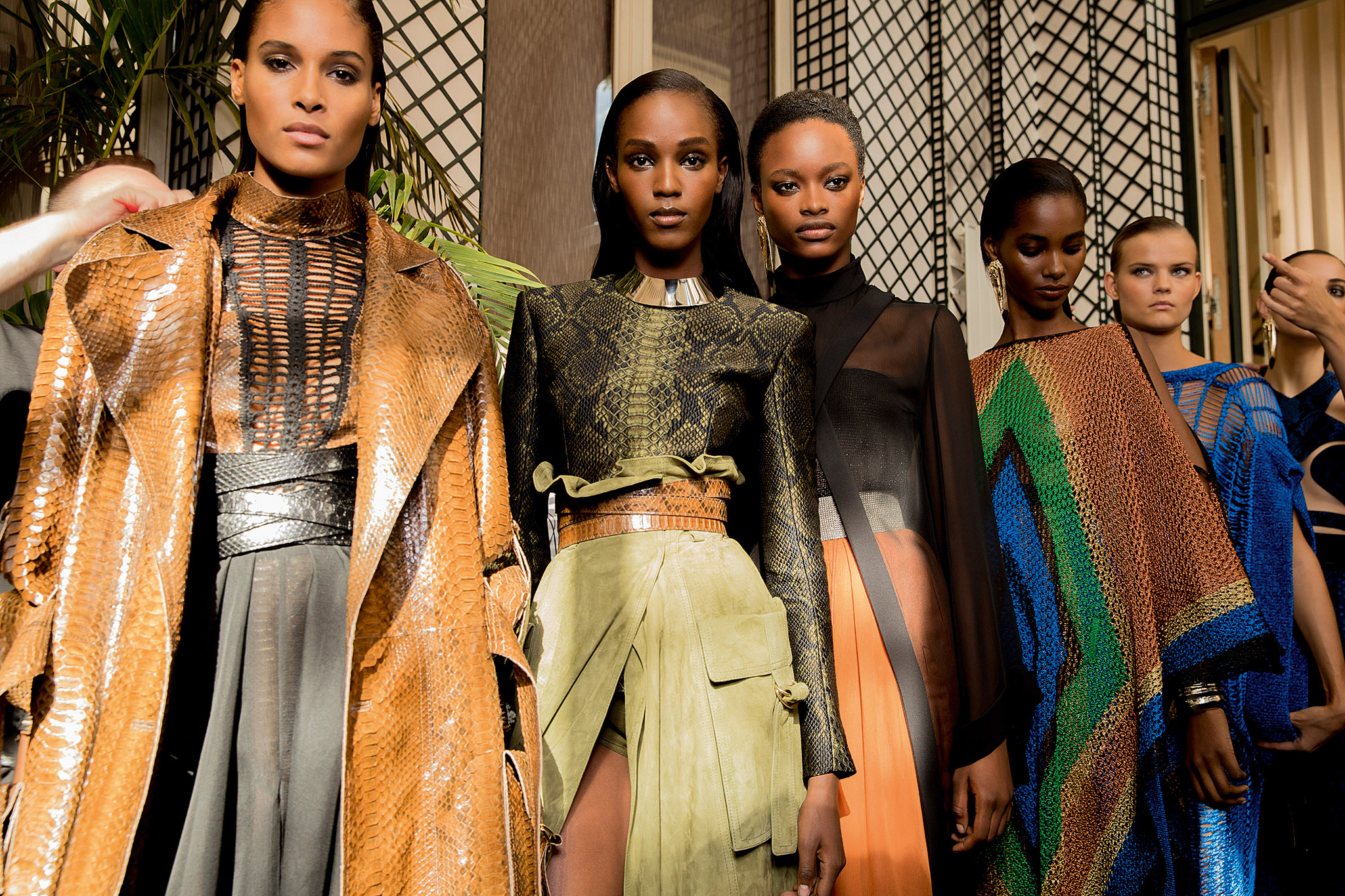 Peak of chic?  Models preparing to hit the runway for the Spring 2017 show