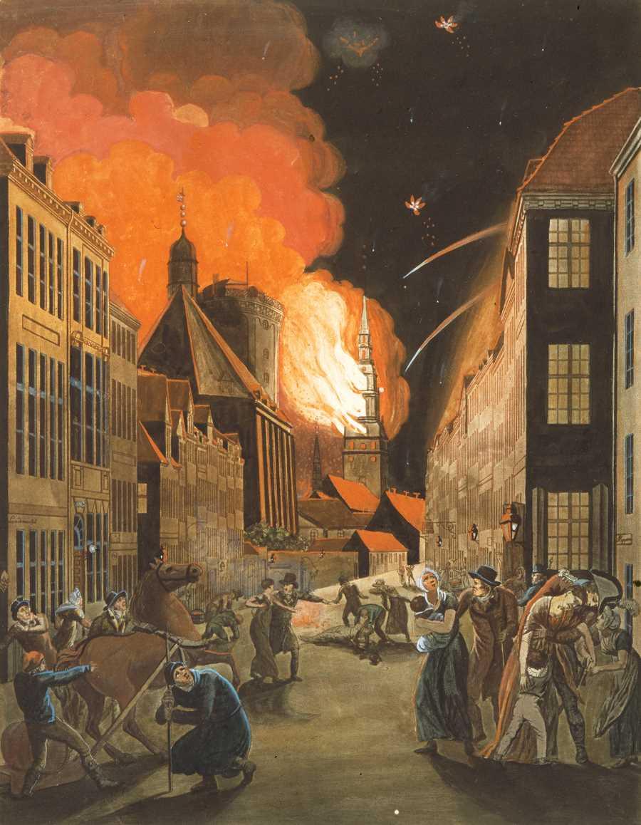Copenhagen on fire, painted by Christoffer Wilhelm Eckersberg