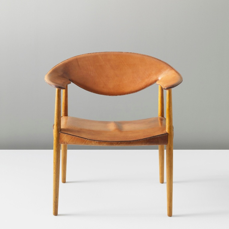 Produced by cabinetmaker Willy Beck and leatherwork by Dahlman saddlers, Denmark. Circa 1959