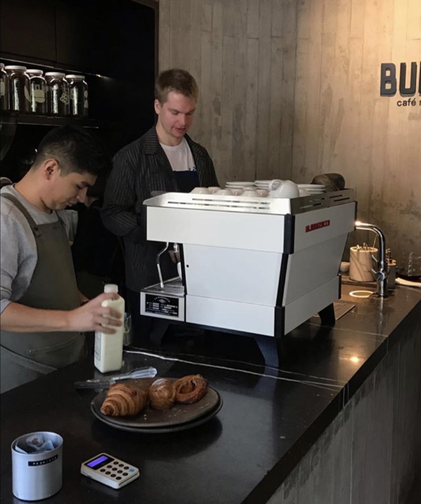 Jonas brewing coffee at Cafe Rico