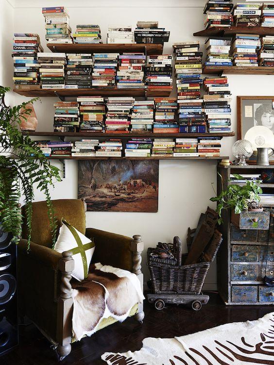 Books on a shelf on a wall