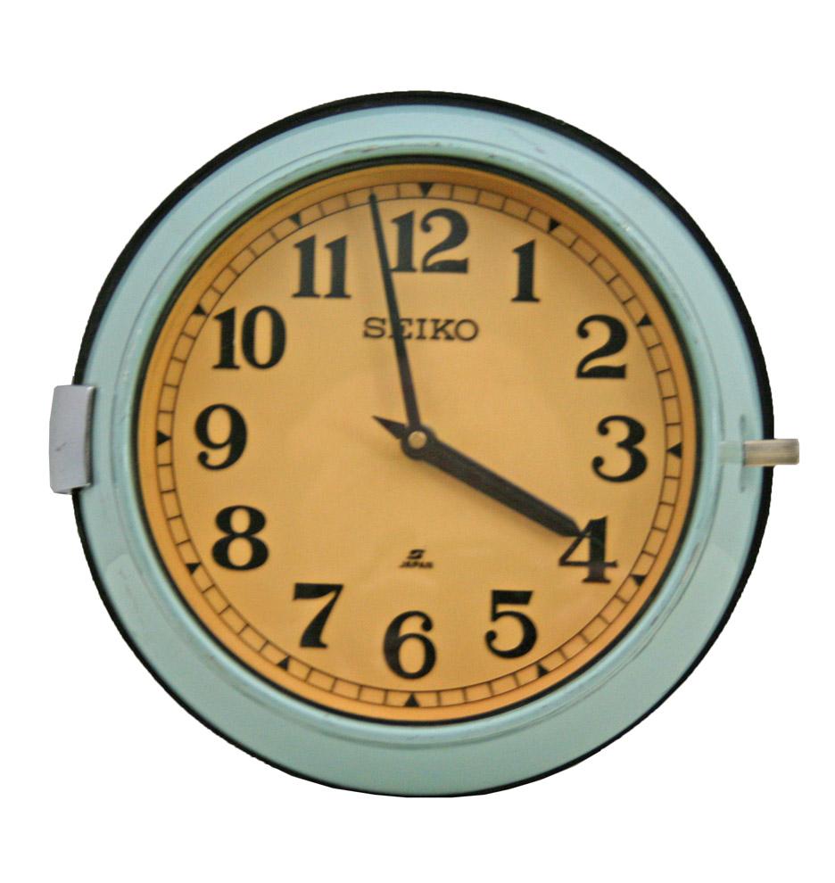 Mid-Century Blue Naval Clock by Seiko