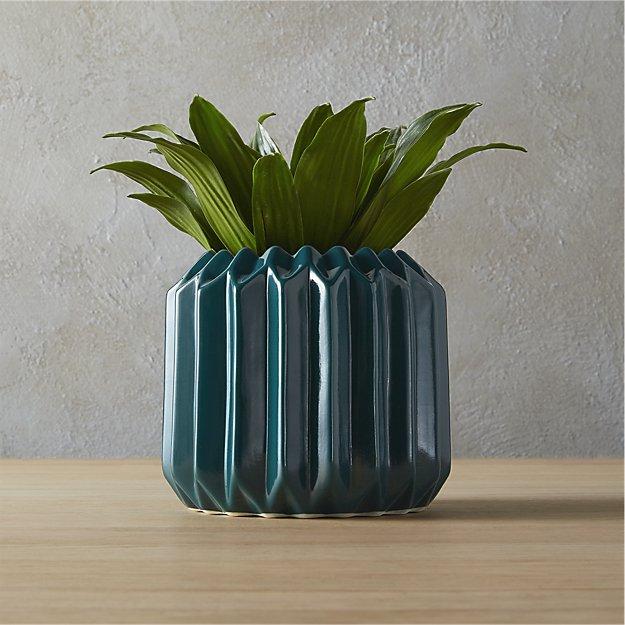 Accordion Teal Vase-Planter