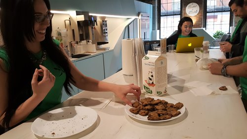 Afternoon cookies and open pathways build community and spur spontaneous interactions at Bond Collective.