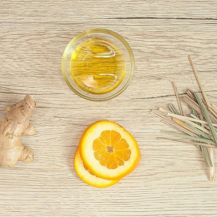 Olive oil and orange slices
