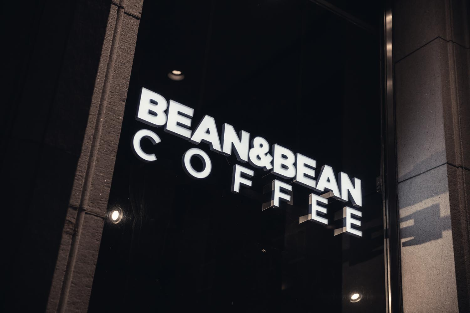 Window sign at Bean & Bean Coffee